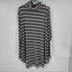 Apt. 9 Black & White Stripes Mock Neck Tunic